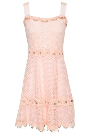 MAJE Rosalina eyelet-embellished guipure lace mini dress