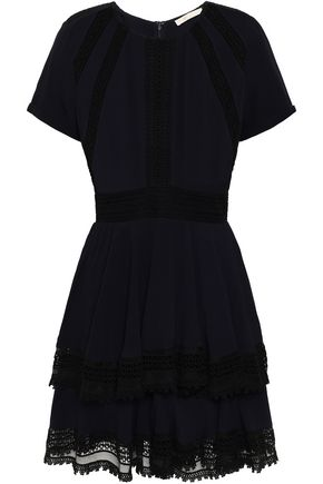 MAJE Lace-trimmed tiered crepe mini dress