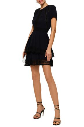 MAJE Lace-trimmed tiered crepe mini dress