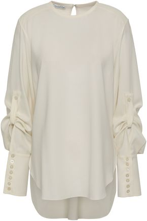 OSCAR DE LA RENTA Button-detailed stretch-silk blouse