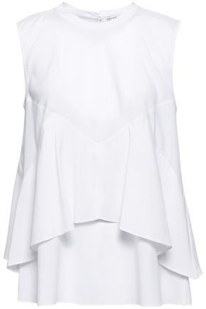 BRUNELLO CUCINELLI Bead-embellished layered stretch-silk top