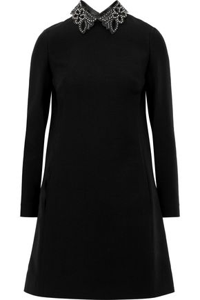 VALENTINO Convertible wool and silk-blend mini dress