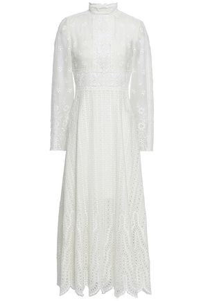 VALENTINO Broderie anglaise cotton-blend gauze midi dress