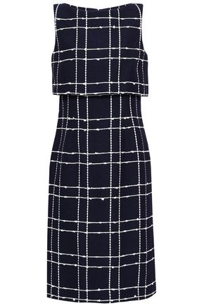 OSCAR DE LA RENTA Layered checked cotton-blend jacquard dress