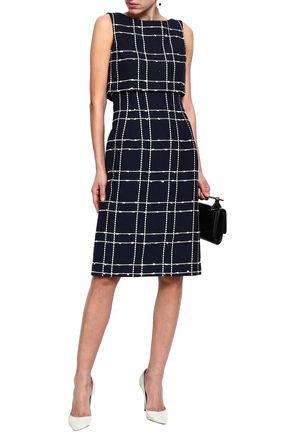 OSCAR DE LA RENTA Layered checked cotton-blend jacquard dress