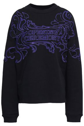 OPENING CEREMONY Lace-paneled embroidered French cotton-terry sweatshirt