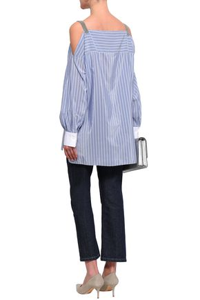 BRUNELLO CUCINELLI Cold-shoulder striped cotton and silk-blend top