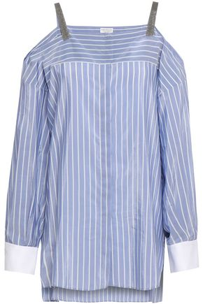 BRUNELLO CUCINELLI Cold-shoulder striped cotton and silk-blend top