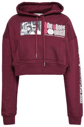 OPENING CEREMONY Cropped printed cotton hooded sweatshirt