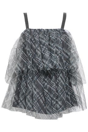BRUNELLO CUCINELLI Bead-embellished layered checked tulle top