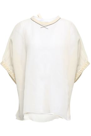 BRUNELLO CUCINELLI Bead-embellished organza-paneled cotton top