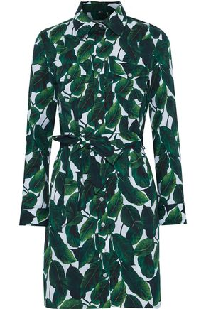 MILLY West printed stretch-cotton mini shirt dress