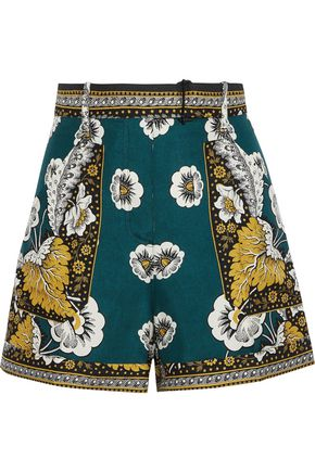 VALENTINO Belted printed silk shorts