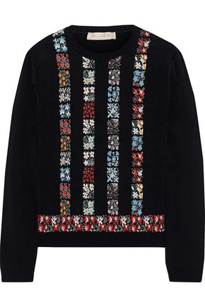 VALENTINO Floral intarsia-knit sweater
