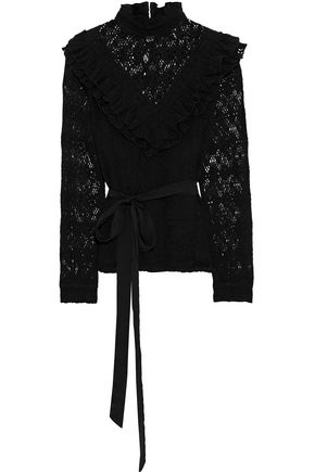 MAJE Limba belted ruffled cotton-blend lace blouse