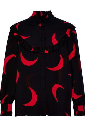 SAINT LAURENT Ruffle-trimmed printed crepe de chine blouse