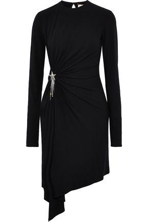 SAINT LAURENT Asymmetric embellished stretch-crepe dress