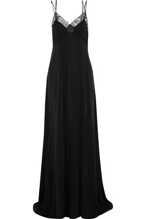 SAINT LAURENT Corded lace-trimmed silk-satin gown