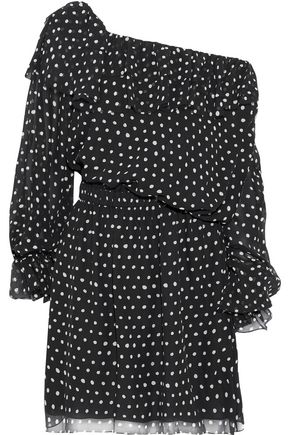 SAINT LAURENT One-shoulder polka-dot silk-georgette mini dress