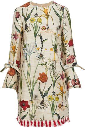 OSCAR DE LA RENTA Fringe-trimmed bow-embellished floral-print silk-blend dress