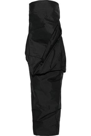 RICK OWENS Strapless draped shell gown