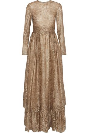 VALENTINO Flared metallic lace gown