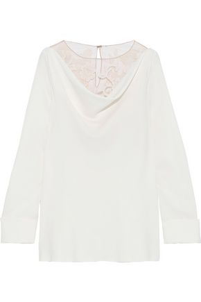 OSCAR DE LA RENTA Embroidered tulle-paneled draped stretch-silk top