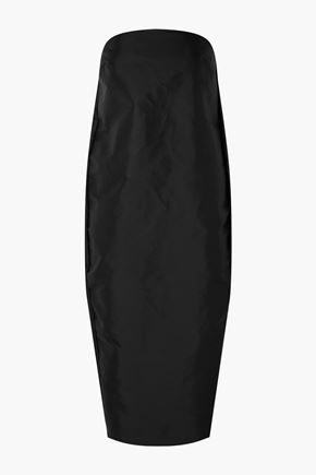 RICK OWENS Strapless coated shell midi dress