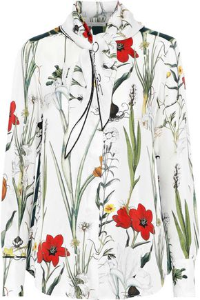 OSCAR DE LA RENTA Pussy-bow floral-print silk-twill shirt