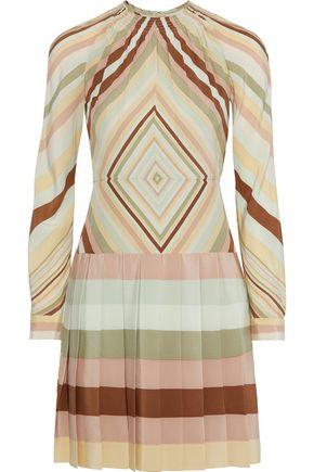 VALENTINO Pleated striped silk crepe de chine mini dress