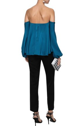 MILLY Gloria off-the-shoulder sateen top