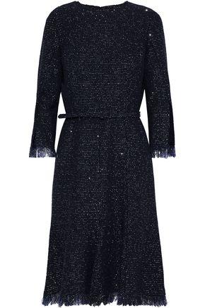 OSCAR DE LA RENTA Belted sequin-embellished wool-blend crepe dress
