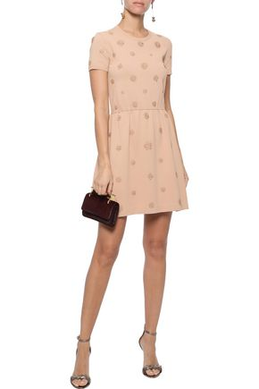 VALENTINO Floral-appliquéd stretch-knit mini dress