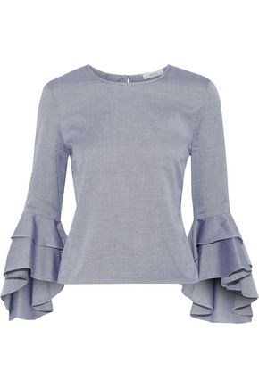 MILLY Fluted cotton-oxford blouse