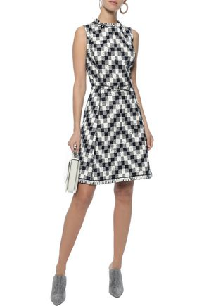 OSCAR DE LA RENTA Belted checked wool-blend jacquard dress