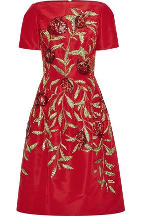 OSCAR DE LA RENTA Flared embellished silk-faille midi dress