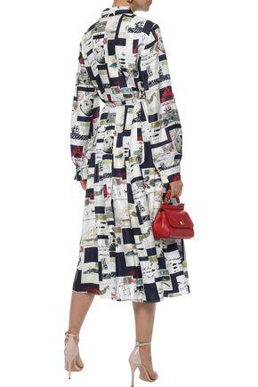 OSCAR DE LA RENTA Pussy-bow printed silk-twill midi dress
