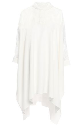OSCAR DE LA RENTA Draped lace-paneled silk-blend mini dress