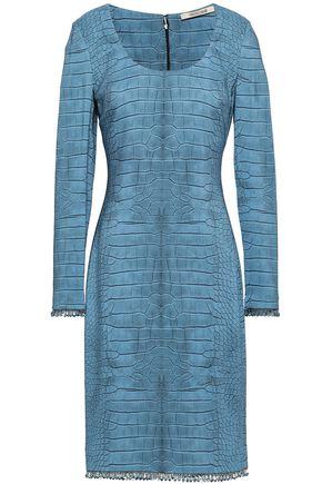 ROBERTO CAVALLI Crystal-embellished crocodile-print stretch-jersey dress