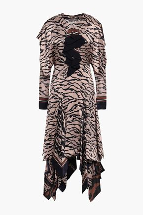ROBERTO CAVALLI Animal-print silk midi dress
