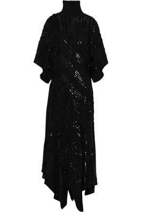 ROBERTO CAVALLI Sequined crochet-knit turtleneck dress