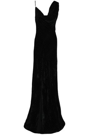 ROBERTO CAVALLI Draped devoré-velvet gown