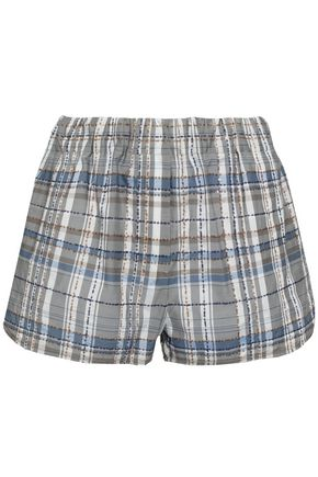 BRUNELLO CUCINELLI Embellished checked cotton-blend shorts