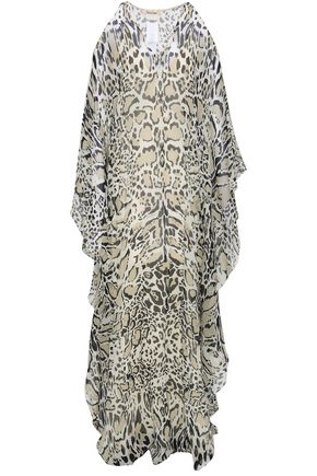 ROBERTO CAVALLI Cold-shoulder leopard-print silk-georgette maxi dress