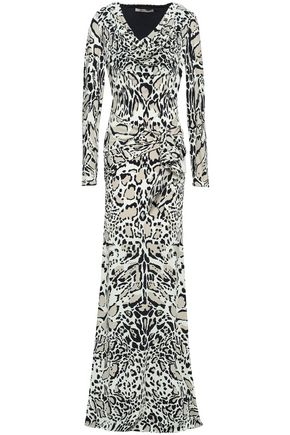 ROBERTO CAVALLI Animal-print stretch-jersey maxi dress
