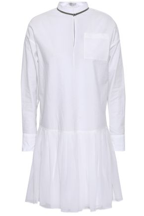 BRUNELLO CUCINELLI Bead-embellished cotton-blend poplin and pleated chiffon mini dress