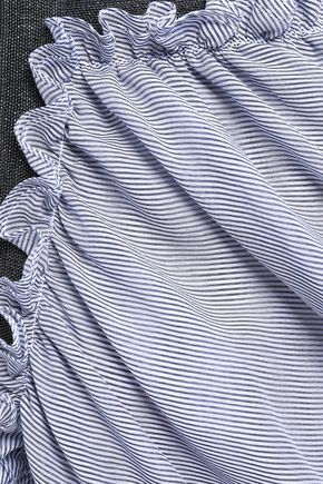 BRUNELLO CUCINELLI Embellished layered striped cotton and silk-blend top