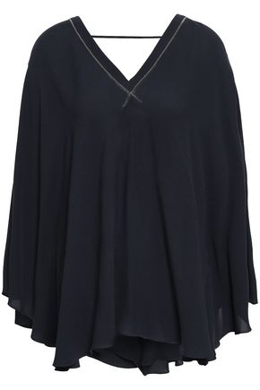 BRUNELLO CUCINELLI Bead-embellished silk top