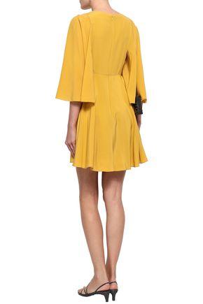 VALENTINO Gathered fluted silk crepe de chine mini dress