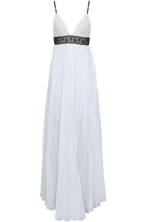 VALENTINO Lace-paneled pleated cotton-mousseline maxi dress